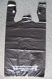 "Item No 1169 Black T-Shirt Bag, 12"" x 7"" x 22"" tall, 1/6Bbl, 21MIC,  500 pack"