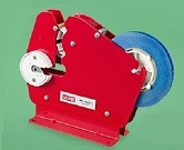 "Item No 1234  Bag Manual Heavy Duty Steel Taper Dispenser, Red color, use 3/8"" or 5/8"" wide tape"
