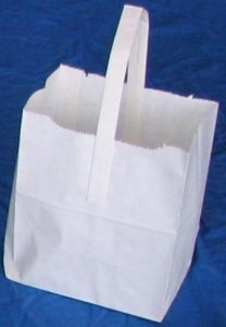 Item No 1240   Handle 10 pound Wet Strength White Paper Bag 500 pack