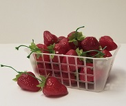 Item No 1252: 3/4 Quart Grape Basket, Plastic Mesh Till, Green or White, Qty: 1,750