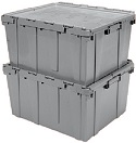 Item No 1312  Bin Produce, Gray, Attached lids, 3 pack