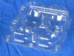 Item No. 473, 4 Cell Clam Hinge Vented Cover Tray, clear plastic, 600 pack
