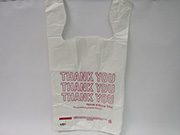 "Item No 480  T-Shirt Poly Bag, white, printed ""Thank You"", 1000 pack"