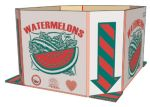 "Item No 735  Bulk Bin, Corrugated Triplewall, ""Watermelons"", Red and green on white, 40 pack"
