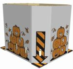 Item No 736  Bulk Bin, Corrugated Triplewall, Pumpkins, Orange and black on white, 40 pack