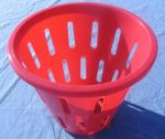 Item No 798:  1/2 Bushel Hamper Picking Basket, red, heavy duty plastic, Qty: 6