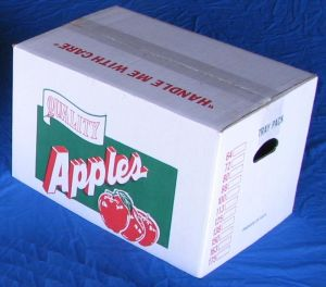 "Item No 826  Bushel Carton Cover, Corrugated, ""Quality Apples"", 500 pack"