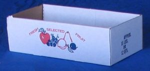 "Item No 833,  12 Quart Strong Corrugated 175 # B Flat,  ""Fresh Selected Fruit"", white, 700 pack"