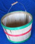 Item No 868:  1/2 Bushel Heavy Duty Basket, Natural Wood with Red and Green Bands, Handle, 12 pack