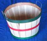 Item No 870,  1/2 Bushel Basket, Natural Wood, Dark Red & Green Bands, Wire Handles, 12 pack