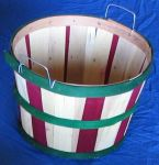 Item No 904  1 Bushel Basket, Natural & Dark Red Wood with Green Bands, Wire Handles, 12 pack