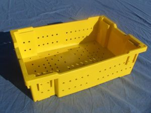 "Item No 932,  30 lb Plastic Produce Lug, Vented, Yellow, 24 x 16 x 7"", Stackable & Nestable"