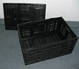 Item No 992  Collapsible Black Plastic Produce Lug, Vented