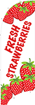 Item No P7STRKIT   Tail Flag, Strawberries, 7 feet tall with flag pole